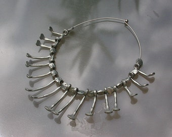 French vintage art deco large  silver metal necklace hand forged nail necklace hand made  large link necklace one of a kind jewelry