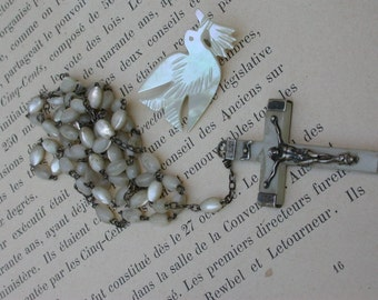 French antique 19th century  silver rosary Mother Of Pearl Crucifix Pendant cross Jesus reliquary st Spirit bird carved engraved Lourdes