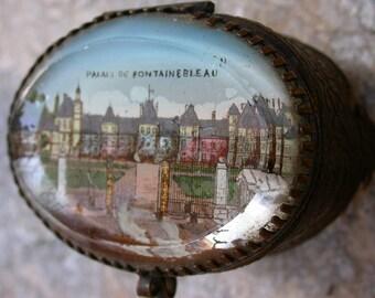 French antique art nouveau Beveled Glass and bronze Ormolu Box jewelry box France Paris Blue background glass box France Paris fontainebleau