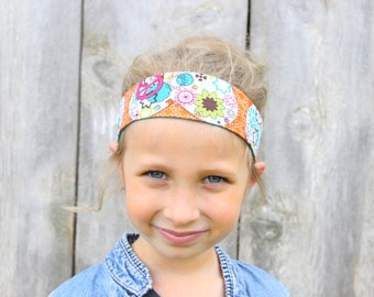 Child Reversible Fabric Headband - Peace Floral/Teal