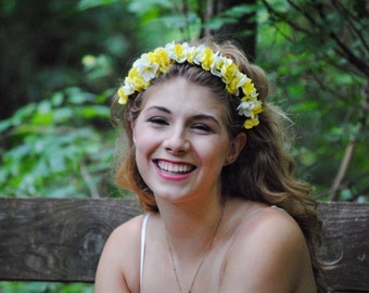 Smiley Face Roses Flower Crown Yellow and white woodland Flower Headband Wedding Wreath CWERKY