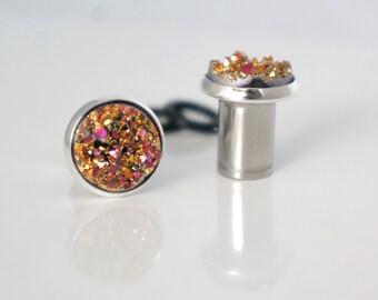 "Copper Druzy Gauges Plugs 8g, 6g, 4g, 2g, 0g, 00g, 7/16"" 3mm, 4mm, 6mm, 8mm, 10mm"