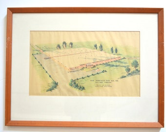 Architectural Drawing - Vintage Mid Century Modern Drawing of Old Dominion Box Company