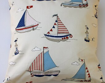 """nautical cushion cover, sailing boat cushion cover, yacht, blue, white and red nautical pillow 16"""""""