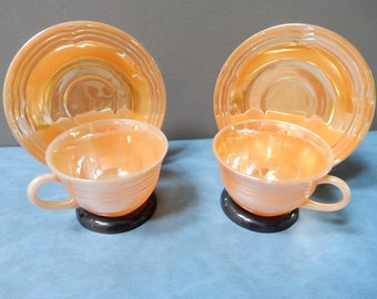 Peach Lusterware Cups and Saucers