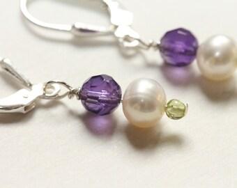 february birthstone amethyst earrings / peridot earrings / graduation gift birthstone gemstone small dangle earring / pearl earring purple