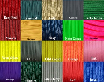 100 feet of 550 Paracord your choice of color  Commercial type III 7 strand paracord **USA Cord**