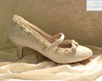 Elegant Fairytale 'Mary-Jane style' Embellished Ivory lace shoes with ivory roses  - Shabby Chic, Wedding, Cinderella, Bridal shoes
