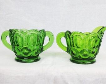Emerald Green Cream and Sugar Glass Set