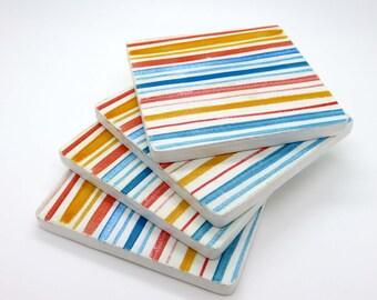 Wooden Coasters-Watercolor Stripes-Modern  Minimal -Set of 4