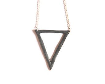 Black Abstract Minimalist Geometric Triangle Modern Clay Pendant on Silver Plated Chain