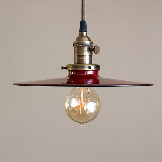 Vintage And Industrial Lighting From Etsy: Industrial Pendant Light Fixture With Flat Metal Shade