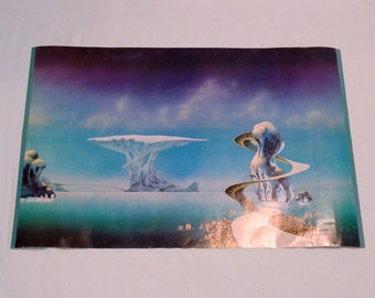 Roger Dean Poster Vintage 1970s Yessongs Roger Dean Artwork for Yessongs Pathways for the band Yes Fantasy Surreal Planetary Landscape
