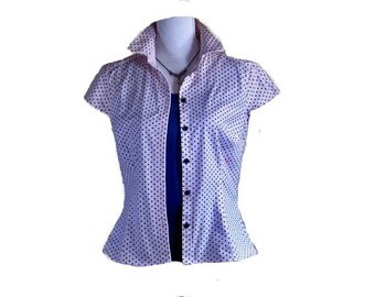 POLKA DOT BLOUSE, Tapered cotton blouse, Tops and tees,womens blouse, polka dot shirt, womens shirt, vintage cotton blouse, retro dot shirt
