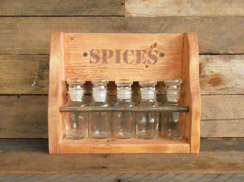 Wood spice rack rustic shelf pallet