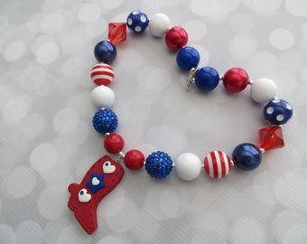 Red, white and blue clay cowgirl boot pendant and chunky bead necklace ready to ship!  Patriotic, western, gift idea, dress-up! (style 296)