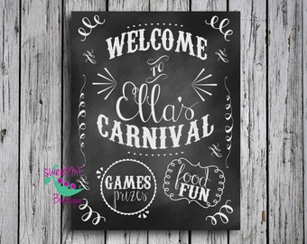 Customized carnival birthday, circus birthday theme, carnival birthday sign, DIGITAL IMAGE