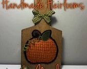 Wool Applique Pumpkin on Antique Vintage Butter Board