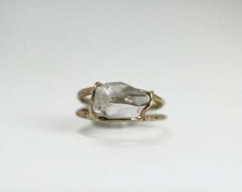Two Band XL Herkimer Ring