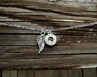 Silver Guardian Angel Necklace- Silver Bullet Necklace- Angel Wings Necklace- Birthstone Crystal Necklace- His Angel- Angel Baby