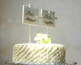Mr and Mrs Rustic Cake Topper, Puzzle Piece Cake Topper,  Rustic Wedding Cake Topper, Mr Mrs Cake Topper