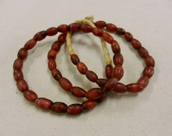 Antique Hand Made Wound Venetian Glass Cornaline d'Aleppo Whitehearts African Samburu Hudson Bay Trade Beads Strand