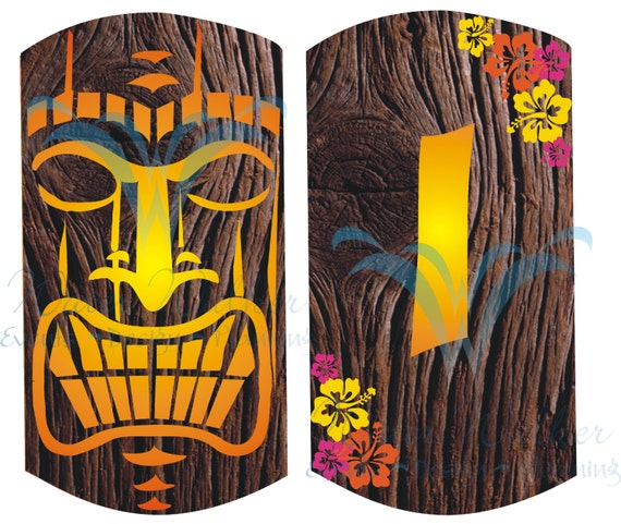 Wooden Tiki Head Drawing Items similar to Tiki ...