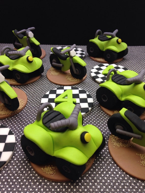 Fondant Dirt Bike And 4 Wheeler Cupcake Toppers Atv Cupcakes