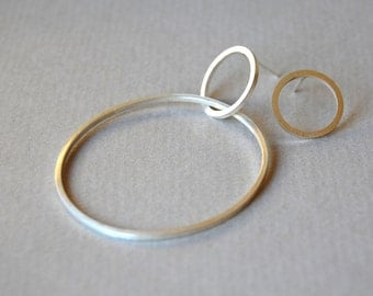 Mismatched asymmetrical sterling silver hoop earrings, asymmetric silver earrings