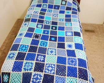 Crochet Granny Square Twin Size Afghan