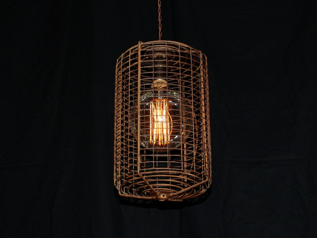 vintage raffle basket pendant light