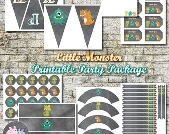 Little Monster Party Package, Instant Download Party Package, Monster Birthday