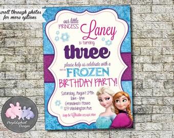 Frozen Birthday Invitation, Frozen Birthday Glitter, Frozen Elsa & Anna, First Second Third Fourth Fifth Birthday, 3rd 4th 5th 6th 7th 5x7