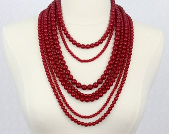Multi Strand Beaded Necklace Statement Necklace Multi Layered Beads Necklace Red Chunky Necklace