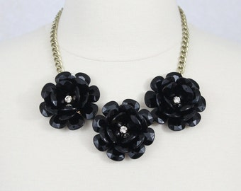 Black Statement Necklace Beaded Rose Necklace Chunky Flower Necklace Collar Necklace Rosette Necklace Three Flower Necklace