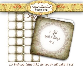 Printable Editable Tags Gift Cards Product Labels Jewelry Tag # 0284
