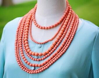 Dramatic Multi Strand Bib Necklace, Coral Statement Necklace