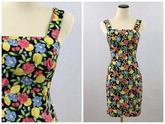 Floral Mini Dress - 90s Bright Floral Print Black Dress Size 6 - Vintage 1990s Laundry by Shelli Segal Dress