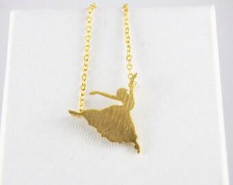 Gold Dancer Ballerina Ballet Necklace Minimalist Jewelry Simple Dainty Delicate