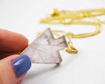 Arrowhead Pendant Arrow Rose Quartz Gold Plated With Long Chain Geode Necklace