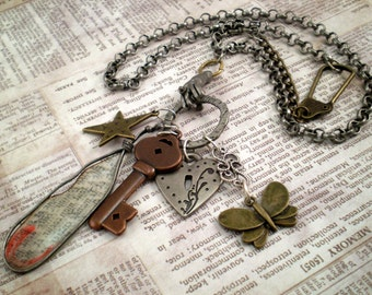 Shabby Chic Charm Necklace, Statement Charm Necklace