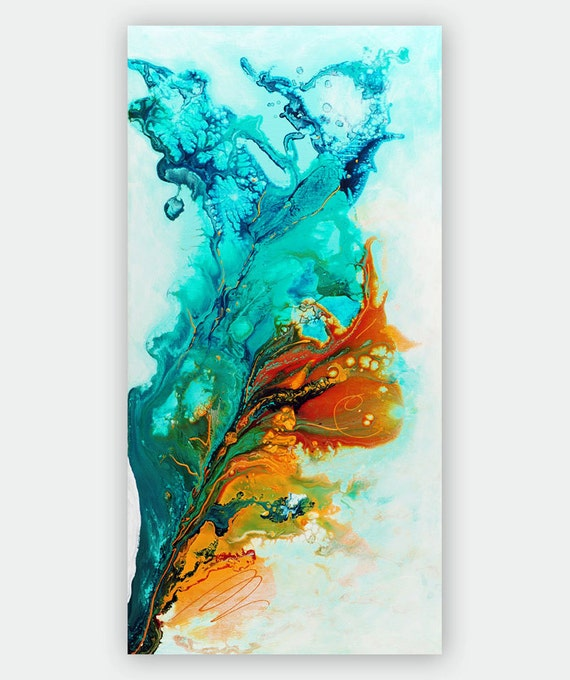 Items Similar To Teal Purple Abstract Flowers Wall Decor: Abstract Art Giclee Print On Canvas, Gold Turquoise Teal