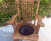 Antique Pressed Back Rocking Chair, Late 1800s Oak Rocking Chair, Antique Rocker