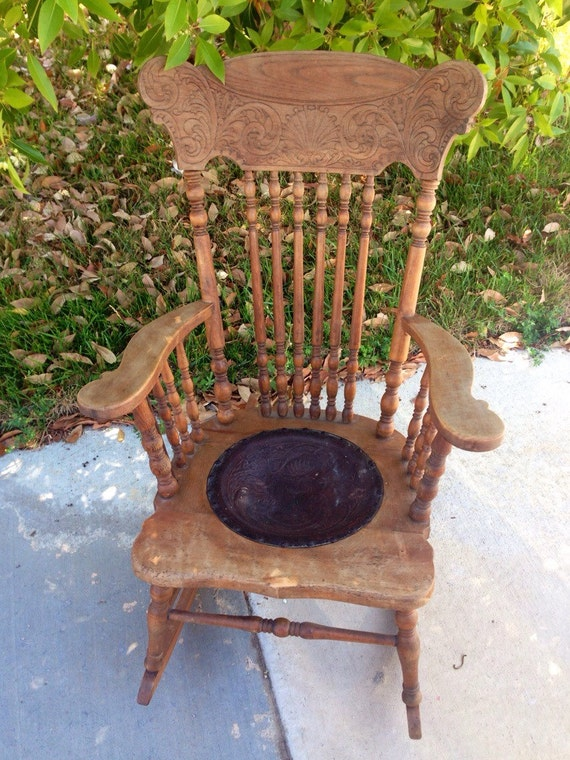 Antique Pressed Back Rocking Chair Late 1800s Oak Rocking