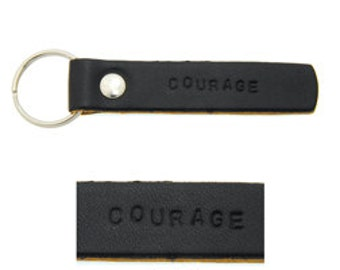 Leather Keychain -Courage