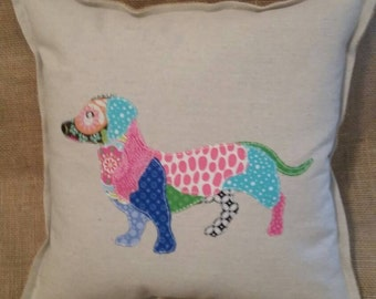 Doxie appliqued pillow
