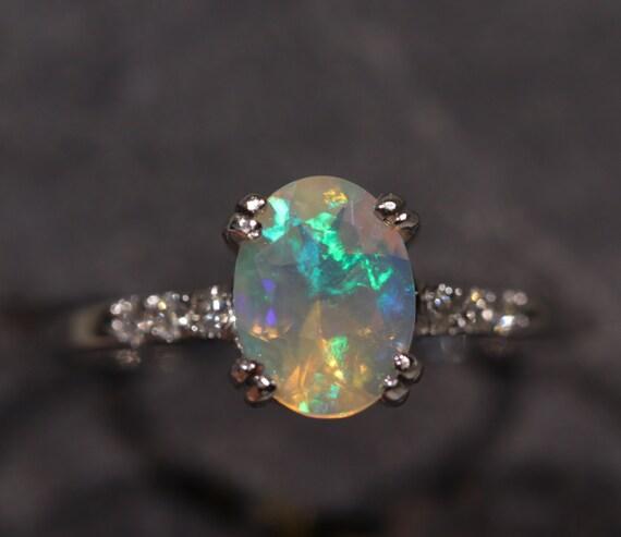 Natural Ethiopian Opal 14k White Gold Ring W Diamond Size