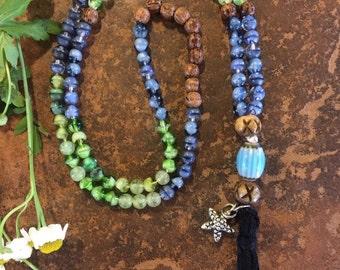 Blue Green and Wood Beaded Zen Mala with Star Charm, Blue Ceramic Guru Bead and Black Tassel, zen, Yoga-Inspired, Boho, Buddhist Inspired
