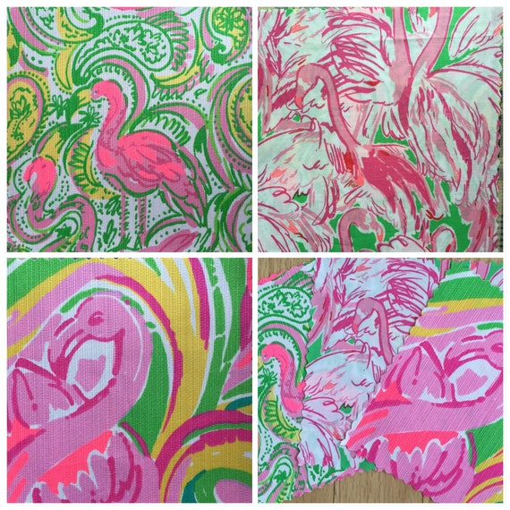 Lilly Pulitzer Sorority Letters 3 Patches Of Lilly Pulitzer Fabric Flamingo Flock Trio Hot