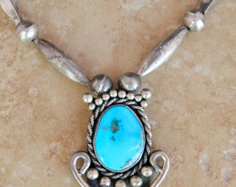 Native American Navajo Vintage Handmade Sterling Turquoise Removable Pendant Necklace 24""